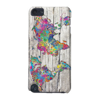 world map wood iPod touch (5th generation) covers