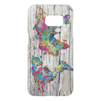 world map wood samsung galaxy s7 case