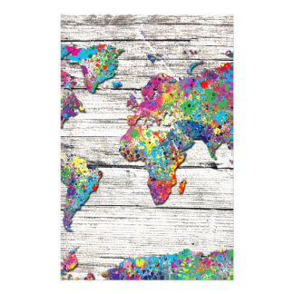 world map wood stationery