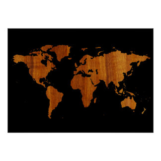world map - wood texture poster