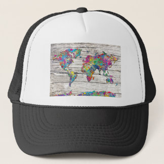 world map wood trucker hat