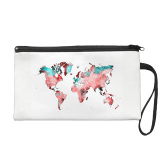 world map wristlet