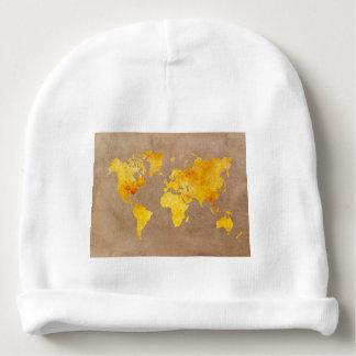 world map yellow baby beanie