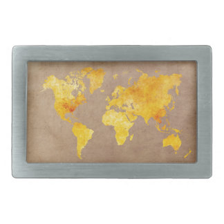 world map yellow belt buckle