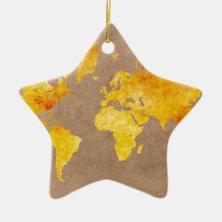 world map yellow ceramic ornament