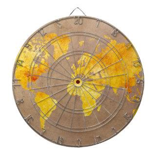 world map yellow dartboard