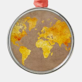 world map yellow metal ornament