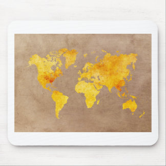 world map yellow mouse pad