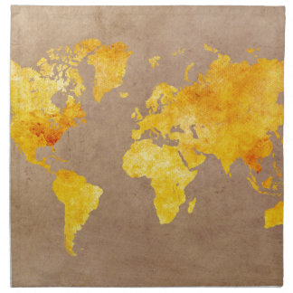world map yellow napkin