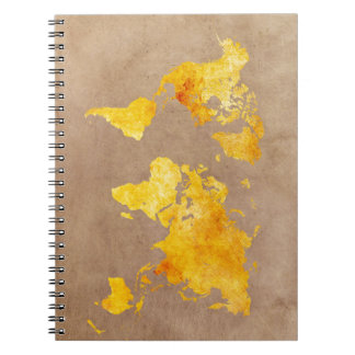 world map yellow notebook
