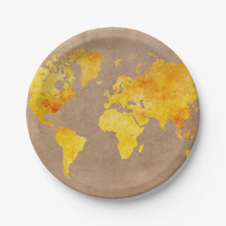 world map yellow paper plate