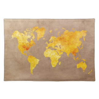 world map yellow placemat