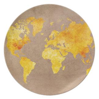 world map yellow plate