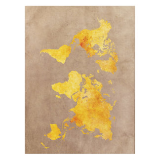 world map yellow tablecloth