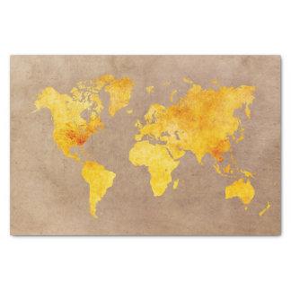 world map yellow tissue paper