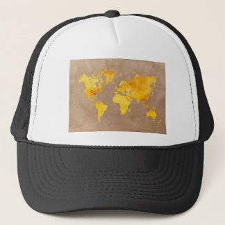 world map yellow trucker hat