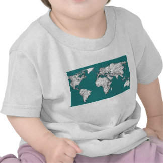 World maps in turquoise t-shirts