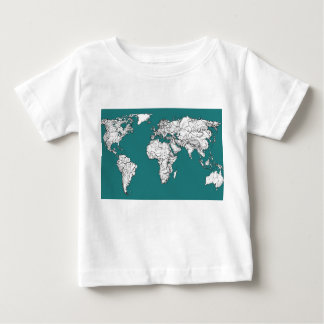 World maps in turquoise tees