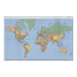 World Maps, Printed Map Poster 23x36 or other size