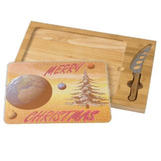 world merry christmas round cheeseboard
