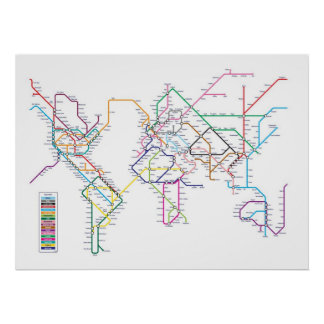 World Metro Subway Map Poster