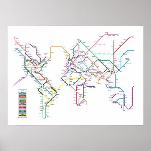 World Metro Subway Map Print