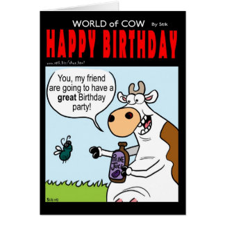World of Cow Birthday card - fly birthday party