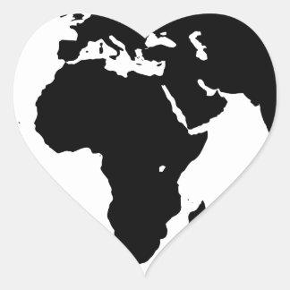 World Outline Heart Sticker