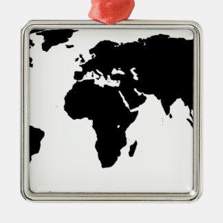 World Outline Metal Ornament