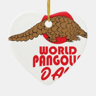 World Pangolin Day - Appreciation Day Ceramic Heart Ornament