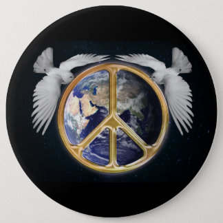 World Peace and Doves Button