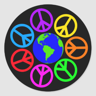 WORLD PEACE CLASSIC ROUND STICKER