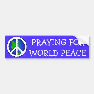 World Peace Earth and Peace Sign BUMPER STICKER