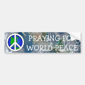 World Peace Earth and Peace Sign BUMPER STICKER