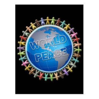 WORLD PEACE HANDS AROUND THE WORLD POSTCARD