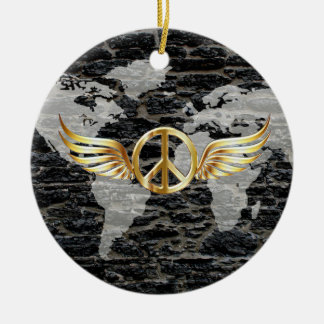 World peace round ceramic ornament