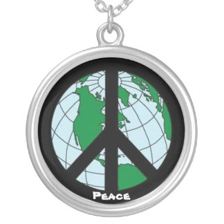 """World Peace"" Silver Plated Necklace"