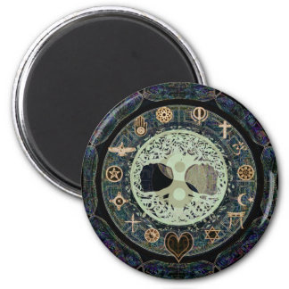 World Peace with Tree of Life and Yin Yang 2 Inch Round Magnet