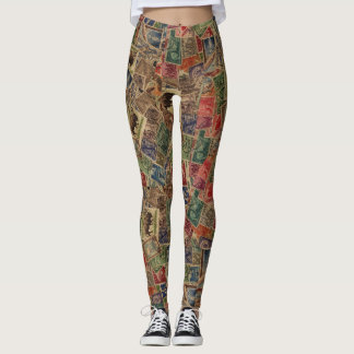 World Postage Stamps Collection Leggings