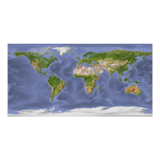 World Relief Map Poster