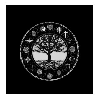 World Religions Black and White Tree Poster