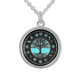 World Religions Black and White Tree Sterling Silver Necklace