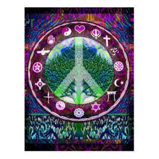 World Religions Peace Tree of Life Mandala Postcard