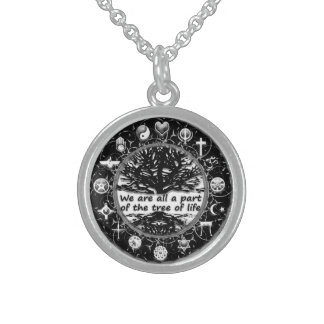 World Religions Peace Tree of Life Sterling Silver Necklace