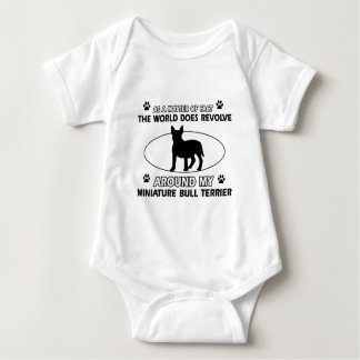 World revolves around my miniature bull terrier baby bodysuit
