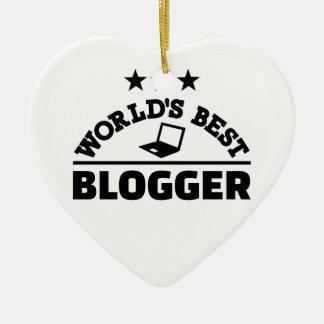 World's best blogger ceramic heart ornament