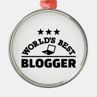 World's best blogger Silver-Colored round ornament