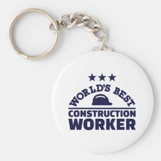 World's best construction worker basic round button keychain