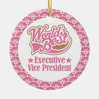 World's Best Executive Vice President Gift Ornamen Double-Sided Ceramic Round Christmas Ornament