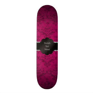 World s best friend pink damask skate board